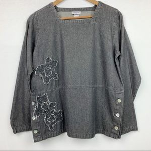 Too Fan Chambray Gray Side Button Square Neck Top
